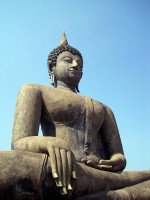 Buddha touching the earth with the sky above