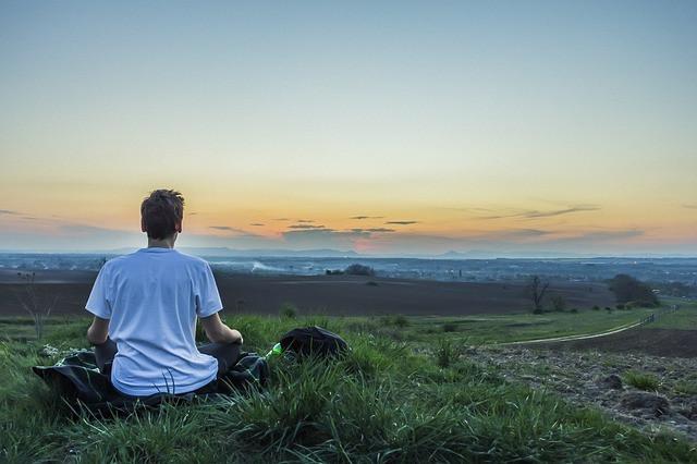 Meditation Outside City