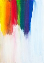 Rainbow of paint stripes on a white canvas