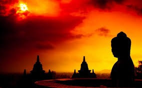 Buddha and stupas