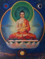 Vairocana Buddha turning the wheel of the Dharma