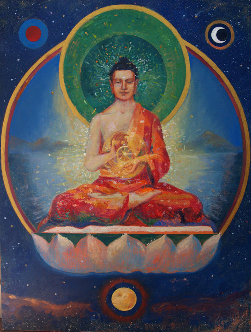 Vairocana Buddha turning the wheel of the Dharma